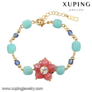 74587 Moda mais recente pulseira de flor de jóias de grânulo colorido em ouro 18k-banhado