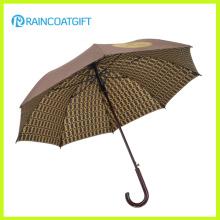 Manche en bois parapluie Adversting imprimé personnalisé droite Golf parapluie 8ribs