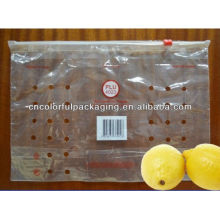 plastic bag with holes for fruit /ziplock fruit packaging bag with holes for lemon/perforated bags