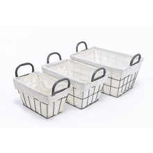 KINDOME Amazon Hot Sales Wire Storage Basket with Handles and Fabric Liner