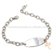 Großhandel billig Roségold Charme Kreuz seitlich Armband mit Kette Armbänder Schmuck