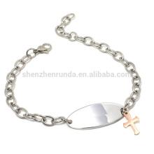 Vente en gros breloque en or rose croisé avec bracelet latéral avec bijoux en bracelets en chaîne
