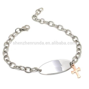 Pulsera lateral de la pulsera de la cruz del encanto del oro color de rosa barato al por mayor con la joyería de las pulseras de la cadena