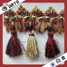 Multicolor Curtain Fringe Trimming With Organza Ribbon Braid and Tassels For Curtain Tapestry Valances Mosquito Net