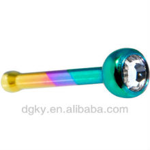 Fashion Titanium Rainbow Crystalline Gem Nose Bone