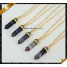 Pendentif en forme d'améthyste en mode, collier en chaîne d'or en gros (CN021)