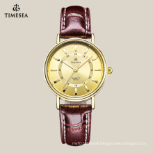 Top Quality Women′s Quartz Watch with Brown Lether Strap 71040