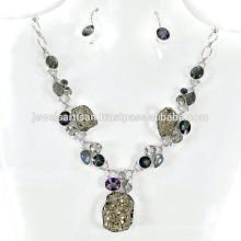 Pyrite y piedras preciosas múltiples 925 collar de la plata esterlina Joyería