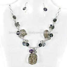 Пирит И Мульти Драгоценных Камней 925 Серебряный Ожерелье Ювелирные Изделия