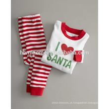 2016 100% algodão Infantil natal pijamas de natal listrado pijama para bebê