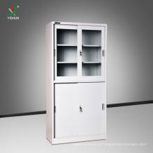 Armário de arquivo de aço da porta deslizante da mobília de escritório KD com portas de vidro