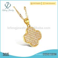 Plata delgada flor collar collar de encanto, cobre 18 quilates joyas cadena de oro