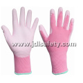 Pink Nylon Work Glove with PU Palm Coated (PN8004P)