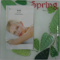 "Green Leaf Design 4""X6"" Glass Photo Frame"