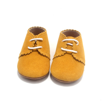 Borong Yellow Lacework Toddle Baby Saddle Oxford Shoes