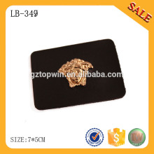 LB349 Black leather type leather label with metal,custom jeans leather label design