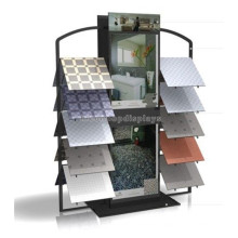 Floorstanding Metal Tiles Exhibition Display Racks, 2-Way Advertising Ceramic Vendor Display Rack