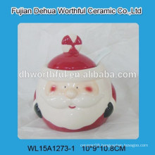Cutely christmas ceramic storage jar with santa claus