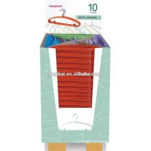 La nueva camisa caliente colorida del metal jadea perchas en cartón del dispaly