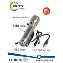 Rechargeable Solar Power LED Torch with USB Charger