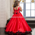 2017 new model girl dress classic satin red color prom wear 2 year old girl dress