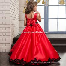 Bestickt Spitze ärmelloses Baby Mädchen Kleid in roter Farbe mit Bowknot für Weihnachtsfeier