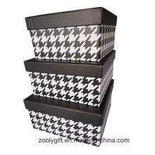 Impresión de patrón clásico de cartón cuadrado cajas de almacenamiento de papel conjunto