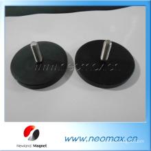 External thread stud pot magnet neodymium rubber coated magnetics