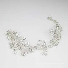 Vigne à la main strass cristal casque Noble argent accessoires de cheveux de mariée pour le mariage