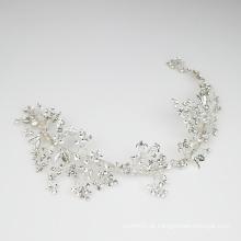Capacete artesanal de cristal de strass videira prata nobre acessórios para cabelo de noiva para casamento