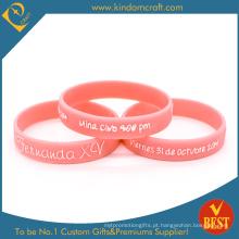 Bracelete gravado cor-de-rosa relativo à promoção feito sob encomenda do silicone (LN-010)