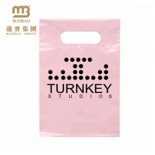 Wholesale Price Heat Sealing Small Pink Custom Logo Printed Plastic Shopping Merchandise Bags for Retail Shop