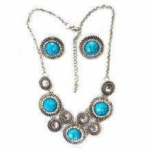 Vintage Necklace and Earrings Jewelry Set, Made of Casting Paved with Turquoise Faceted Back Beads