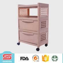 shunxing diseño moderno 3 capas de almacenamiento cajón mesita de noche con ruedas