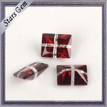 Rectangle très brillant sang rouge et blanc CZ Gemstone