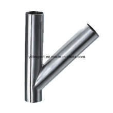 Y Type Polished Butt Welded Sanitary Stainless Steel Tees