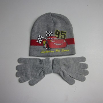 Gray Car Warm Hat Gloves
