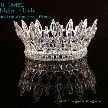 Vente en gros de la nouvelle couronne de strass rhinestone roi tiare pleine couronne circulaire