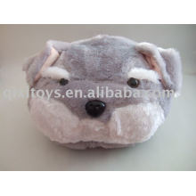 chinelo de pelúcia e recheado de cachorro, macio interior animal sapatos brinquedo