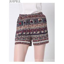 Verano de las nuevas mujeres europeas y americanas de cintura elástica de encaje pantalones cortos playa pantalones grandes pantalones impresos sueltos OEM fábrica