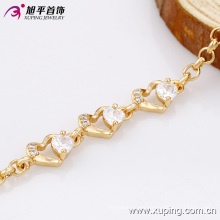 73923- Xuping Jewelry Fashion 18K Gold Plated Brass Woman Bracelet With Diamond