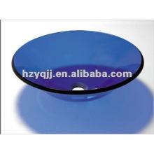 De 10 a 12 milímetros, uma camada, azul, banheiro, banheiro, vidro, pia, inclui, pop-up, escorredor, vidro, tigela