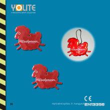 Réflecteur mou rouge / insignes mous réfléchissants / étiquette molle réfléchissante avec du CE En13356
