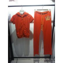 Senhoras ′ Primavera / Outono Velvet Track Casual Sport Suit