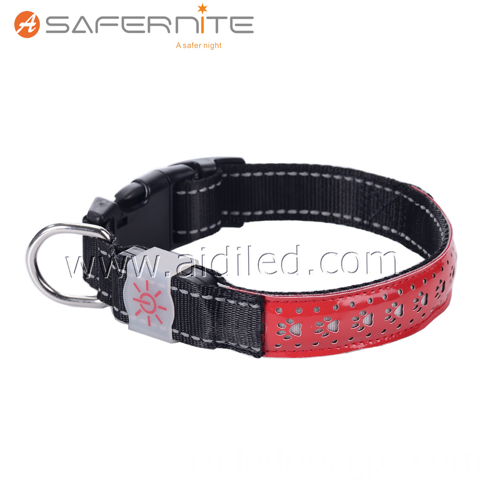Leather Led Night Safety Dog Collar