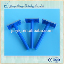 Disposable medical razor with plastic handle