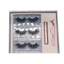 SL007H Hitomi 3d Real Mink Eyelashes soft natural mink eyelashes Fluffy Magnetic Eyelashes with Eyeliner and tweezers