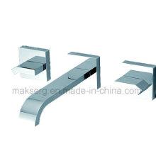 Torneira para lavatório de banheiro com polimento de parede inoxidável
