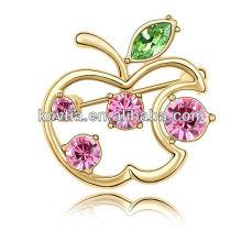 Plated 18k jóias de ouro meninas favorito maçã forma decorativa broche