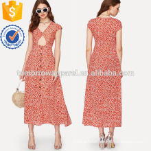 Calico Print Cut Out Dress Manufacture Wholesale Fashion Women Apparel (TA3225D)